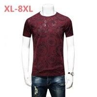 10XL 8xl 6xl Summer Mens Casual T Shirts Black Flower Print Brand Clothing For Man S