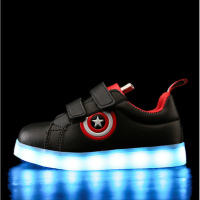 KKABBYII Captain America Children Shoes Light Led Luminous Sneakers Boys Girls USB Charging Sport Casual Shoes
