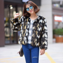 Women Mixed Color Short Section Fur Jacket Casual Winter Autumn Imitation Fur Jackets Female Plus Size Faux Fur Coats S/6Xl K466