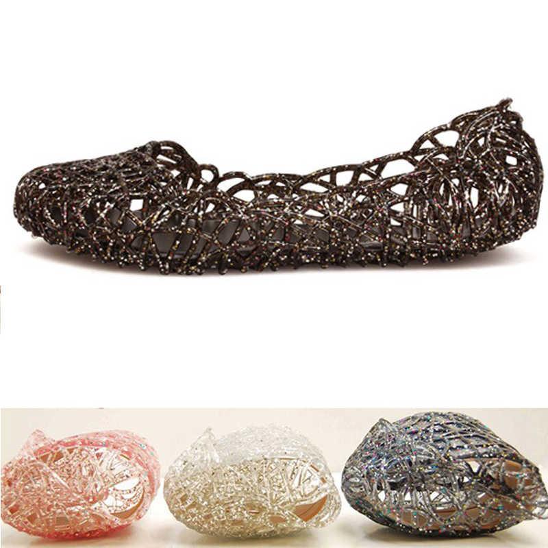2019 kadın sandalet yaz rahat jöle ayakkabı sandalet Hollow Out Mesh daireler bayan kız nefes sandalet 23-25cm