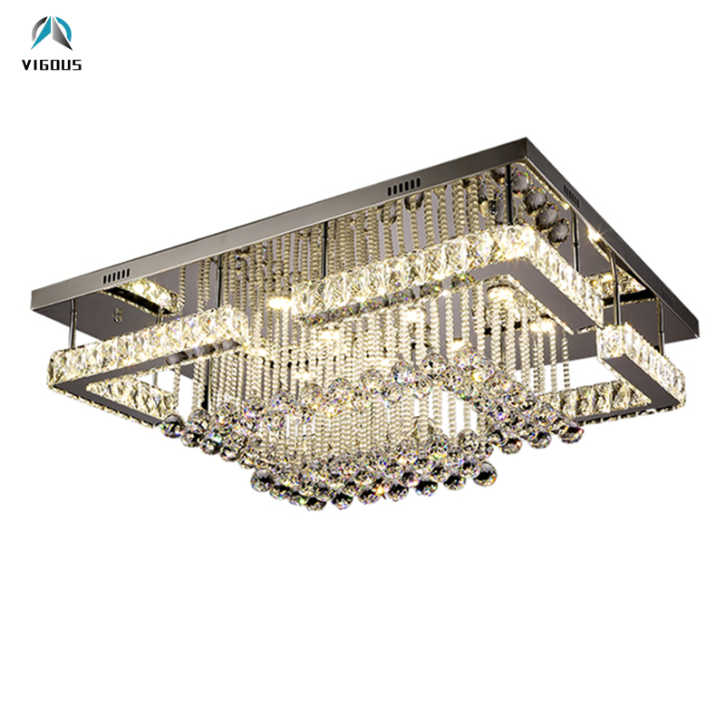 Modern Lustre K9 Crystal Led Luminarias Chandelier Rectangle Remote Control Dimmable Chrome Ceiling Chandelier Lamparas