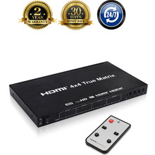 Newest 4K HDMI Switcher Matrix 4X4 HDMI 1.4V Port 3D,4KX2K UHD 4 Input 4 Output HDMI Matrix Switch Box Support IR Remote Control