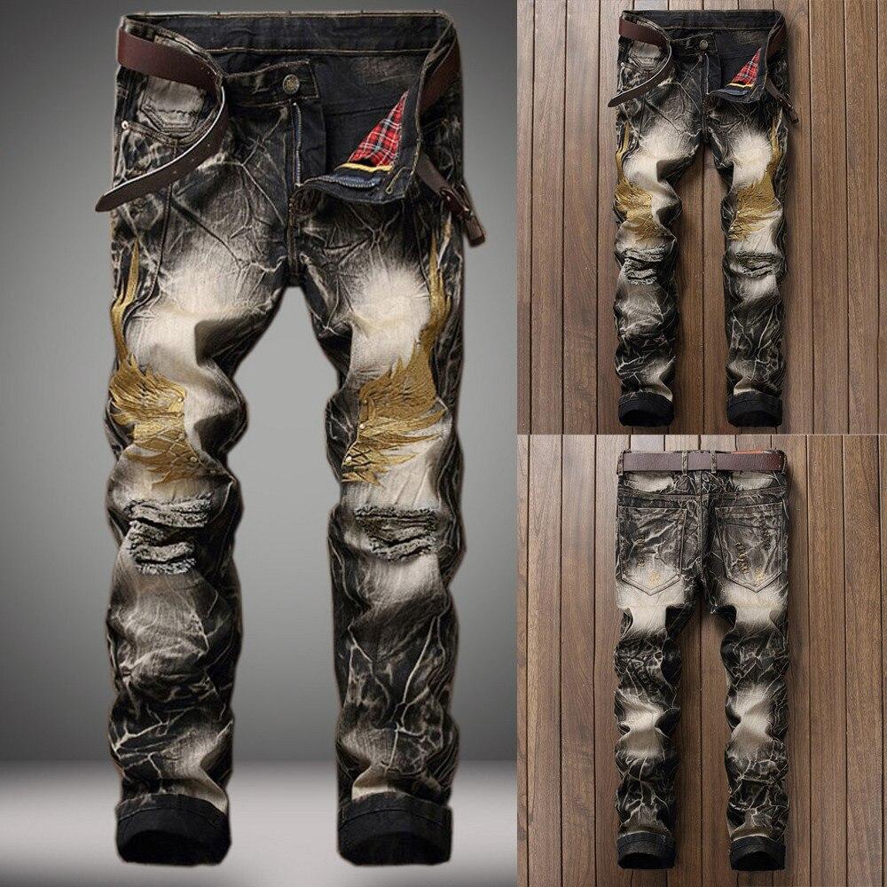 Hombres Vintage Jeans Denim pliegues lavado trabajo deshilachado impreso  cremallera pantalones básicos Venta caliente de alta calidad 2019 nuevo  patrones ... 7e6964c1b01e