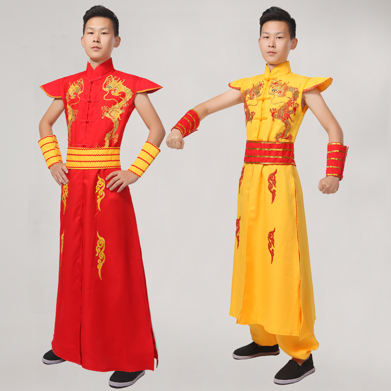 Stage & Dance Wear Dance Costumes Man Chinese Folk Dance Dragon Costume Male Younger Drum Costumes Spring Festival Stage Performance Clohtes