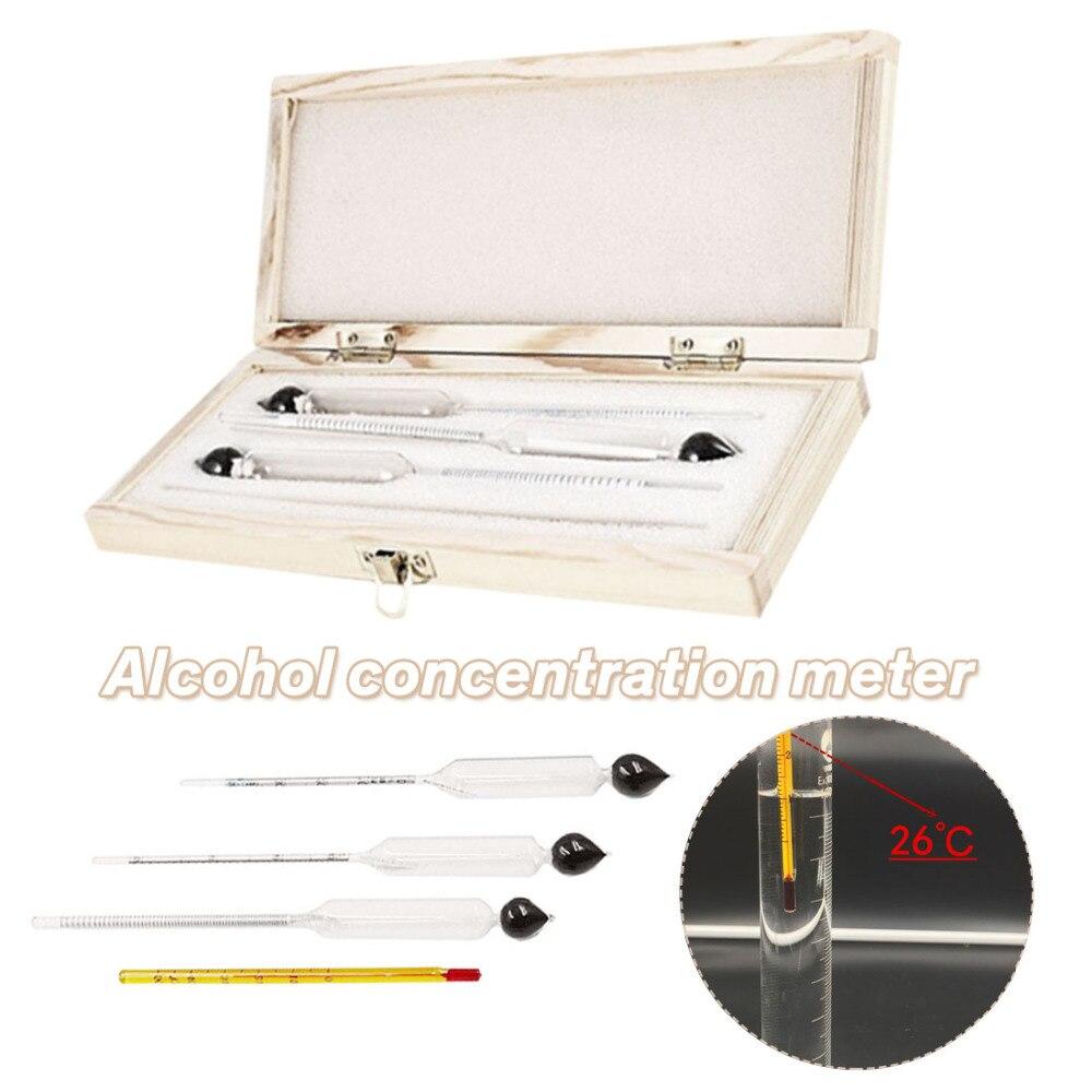 Schneidig 3 Teile/satz Alcoholmeter Wein Konzentration Meter Alkohol Messgerät Hydrometer Tester Alkohol Meter Für Sicheres Fahren Konzentration Meter