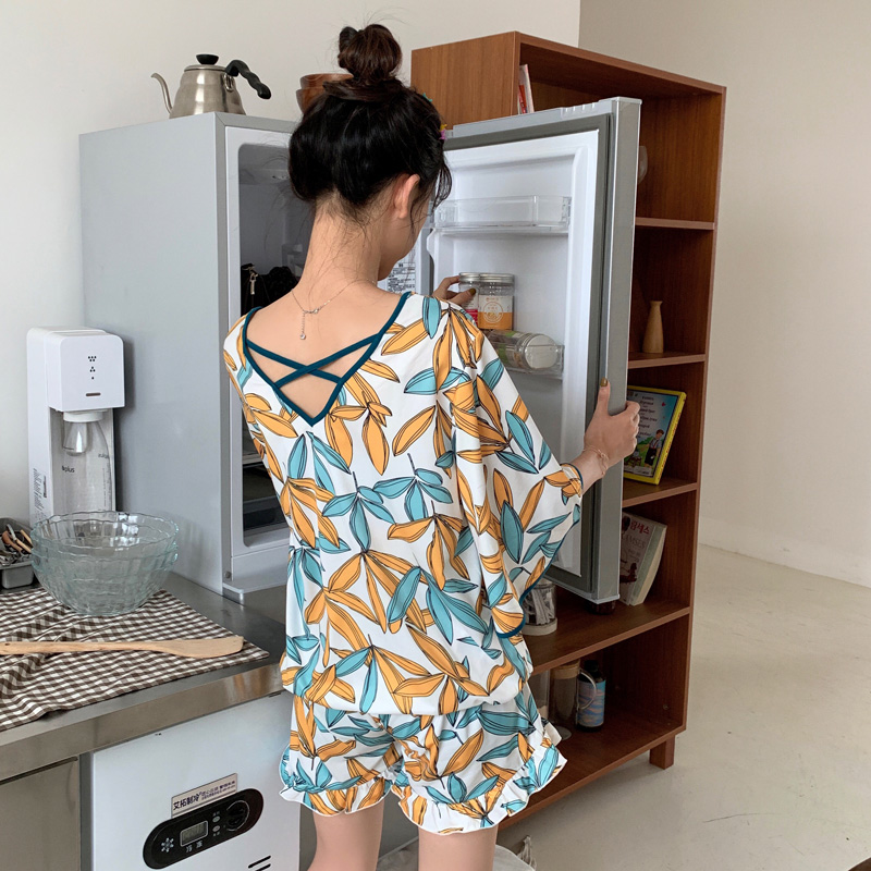 Hot 2019 New Women   Pajamas   Fashion Girls Printed Sleepwear   Set   Female Leisure Loose Women   Pajamas     Set   Girls Short Tops   Set