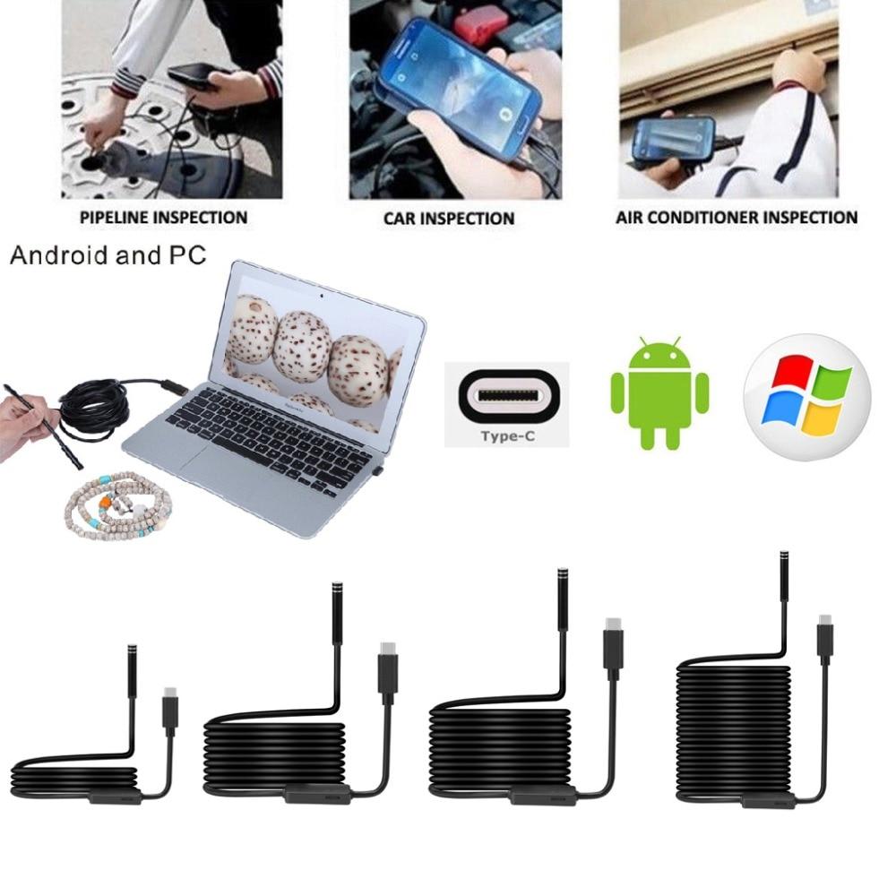 Nouveau 7mm 1 M/3 M/5 M/7M10M 6LED USB TYPE-C Endoscope Inspection Caméra HD pour S8 LG G5/G6/V20 Pixel P9/P10 Oneplus 2/3/3 T Android P