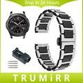 22mm faixa de relógio de aço inoxidável + cerâmica com ligação removedor para samsung gear s3 clássico fronteira butterfly buckle strap pulseira