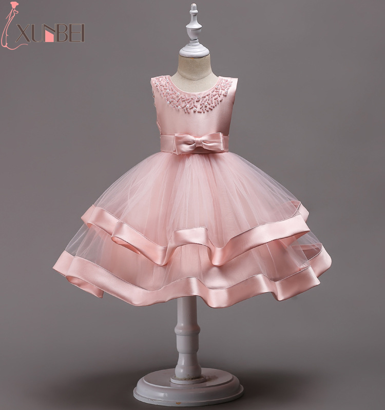 Lovely Knee Length Beaded Tiered Flower Girl Dresses 2019 Tulle Flower Kids Pageant Dresses With Bow Knot Communion Dresses