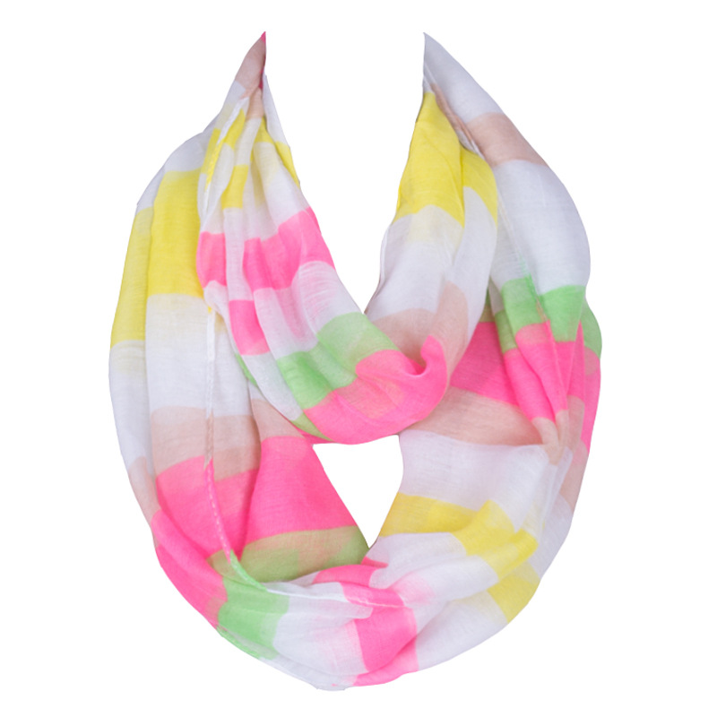 Fashion Brand Design With Colorful Stripe Women Scarf for Ladies Polyester Voile Light and Breathable Shawl Size 160*50cm