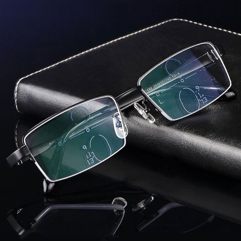 Anti blue ray Blocking Progressive Multifocal Reading Glasses GAMMA RAY Readers Multiple Focus Presbyopia Brand Light