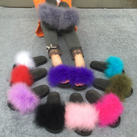 Slippers Fur Furry Open Toe Women Casual Flat Shoes Soft Warm Fluffy Slip On Cute Home Floor Slippers Autumn Winter 10 Colors