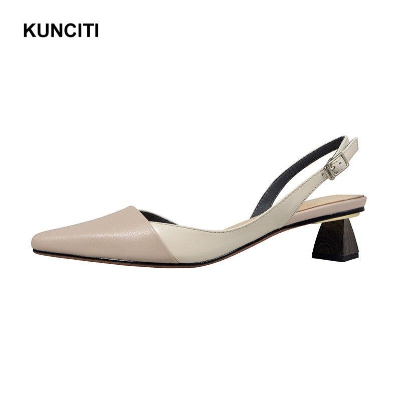 2019 KUNCITI Women Gladiator Sandals Genuine Leather Strange Heel Fashion Summer Shoes Office Ladies Buckled Sexy