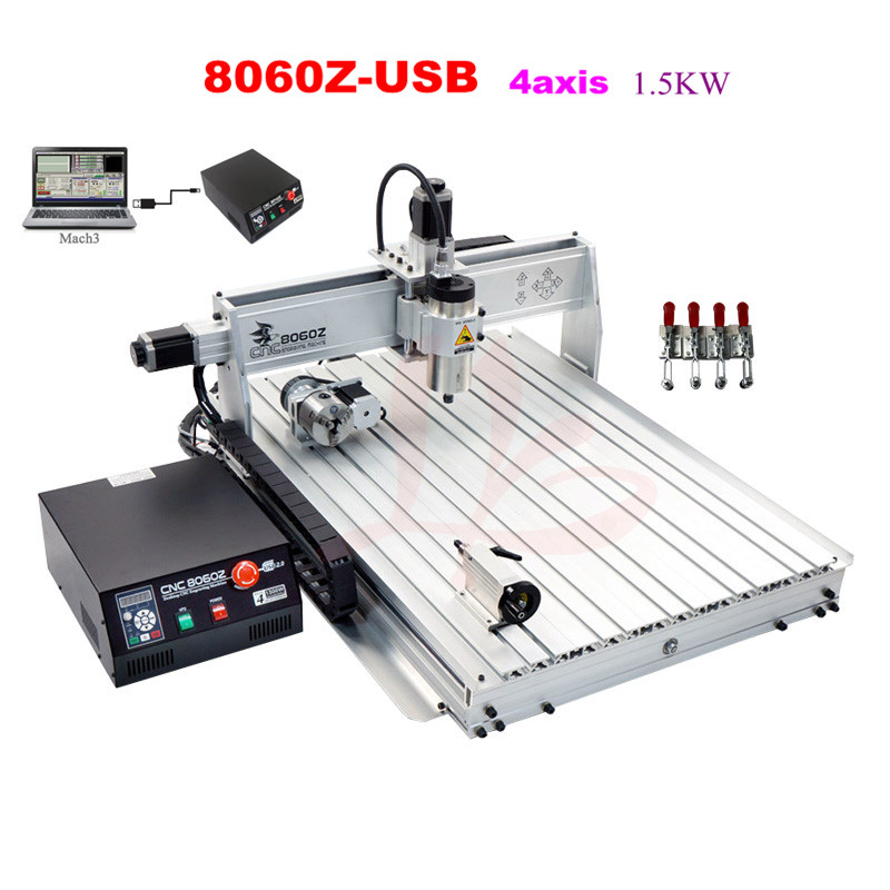 New four axis 8060 1500w USB cnc router engraving and milling machine 220V/110V,no tax to EU cnc router engraving machine diy 2520 4axis engraving drilling and milling machine with rotary axis no tax to ru