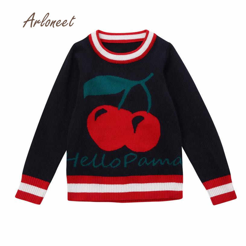 2017 fashion Toddler baby girl clothes Kid Baby Cherry Sweater Knit Pullovers Warm Coat Outerwear Clothes Drop shipping NOV1