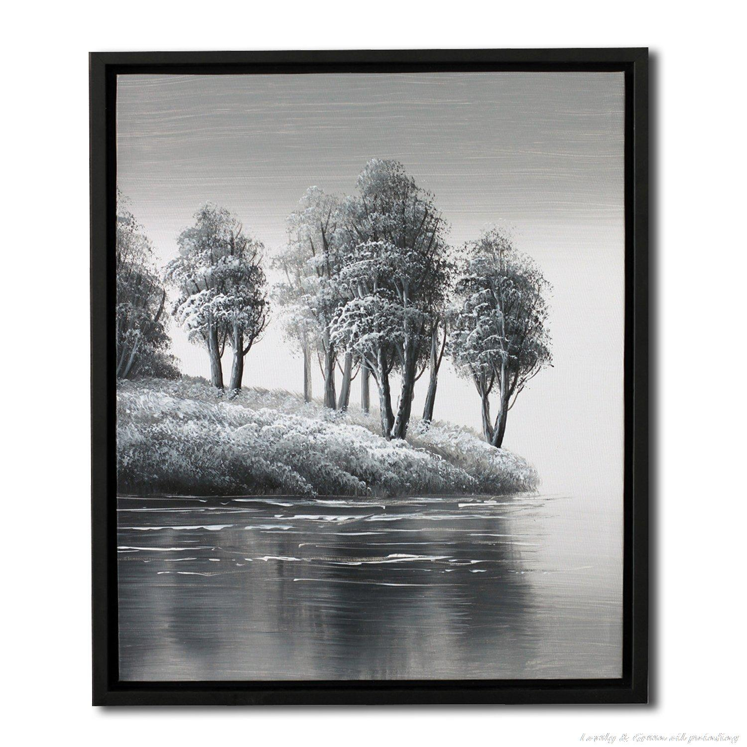 Handpainted High Quality Modern Landscape Oil Painting Winter The Lake Scenery Paintings For Lobby Home decoration,Free Shipping