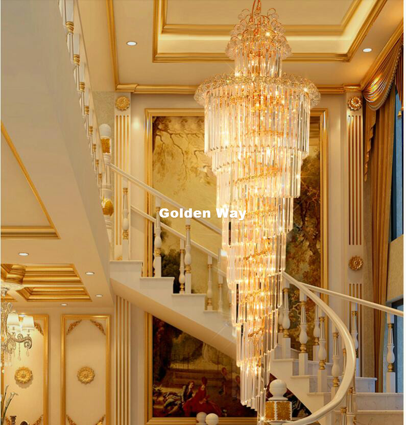 Kostenloser Versand Moderne Kristall kronleuchter LED Kerzenhalter Lampen Moderne Treppe Kronleuchter Villa Wohnzimmer Hängen Beleuchtung