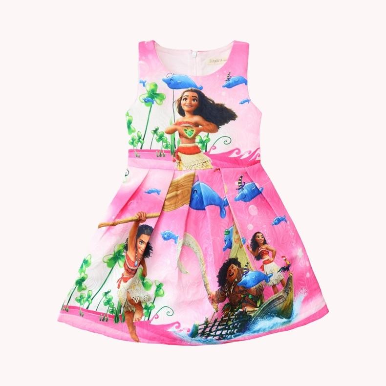 New design Girls Moana Princess Cosplay Costume Dress Kids Halloween Outfit 2pcs