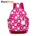 RoyaDong 2017 Children School Backpack Nylon Cute Rabbit Animals Printing Book Bag For Girls Boys