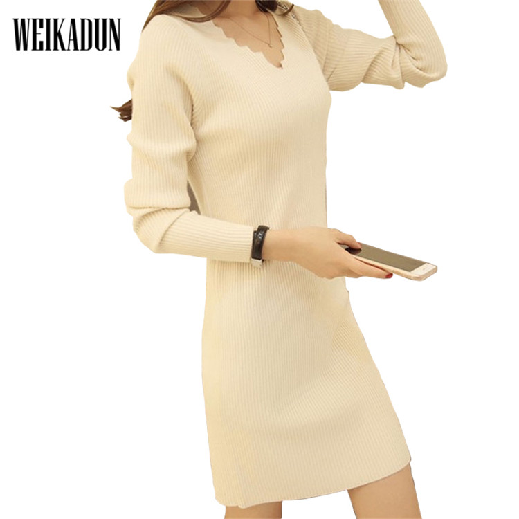 Autumn Winter Women Knitted Dresses 2017 Fashion Casual Elegant Party Long Sleeve Slim Bodycon Sweater Dresses Vestidos L247