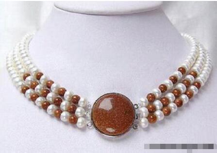 Venda Hot new Style >>>>> 3 Linhas Real White Pearl Golden Star Pedra 18 18KWGP Fecho Colar