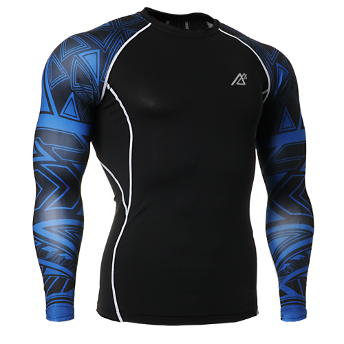 Men Compression Shirt MMA Prints Fitness Crossfit Training Military Skin Tights Long Sleeve Men's Tshirt Gay Gym Clothing CSP