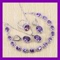 Marvelous Amethyst Púrpura Pulseras de La Joyería Para Las Mujeres Angelic 925 Plata de Ley Pendientes/Anillo/Collar/Colgante