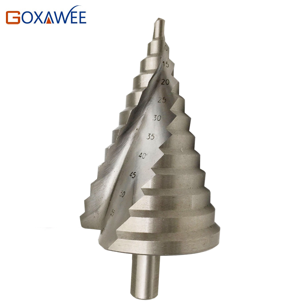 цена на GOXAWEE Step Cone Drill Bits Hole Cutter Bit Set 6-60 mm Fluted Edges HSS Step Drill Bit Reamer Triangle Shank Wood Metal