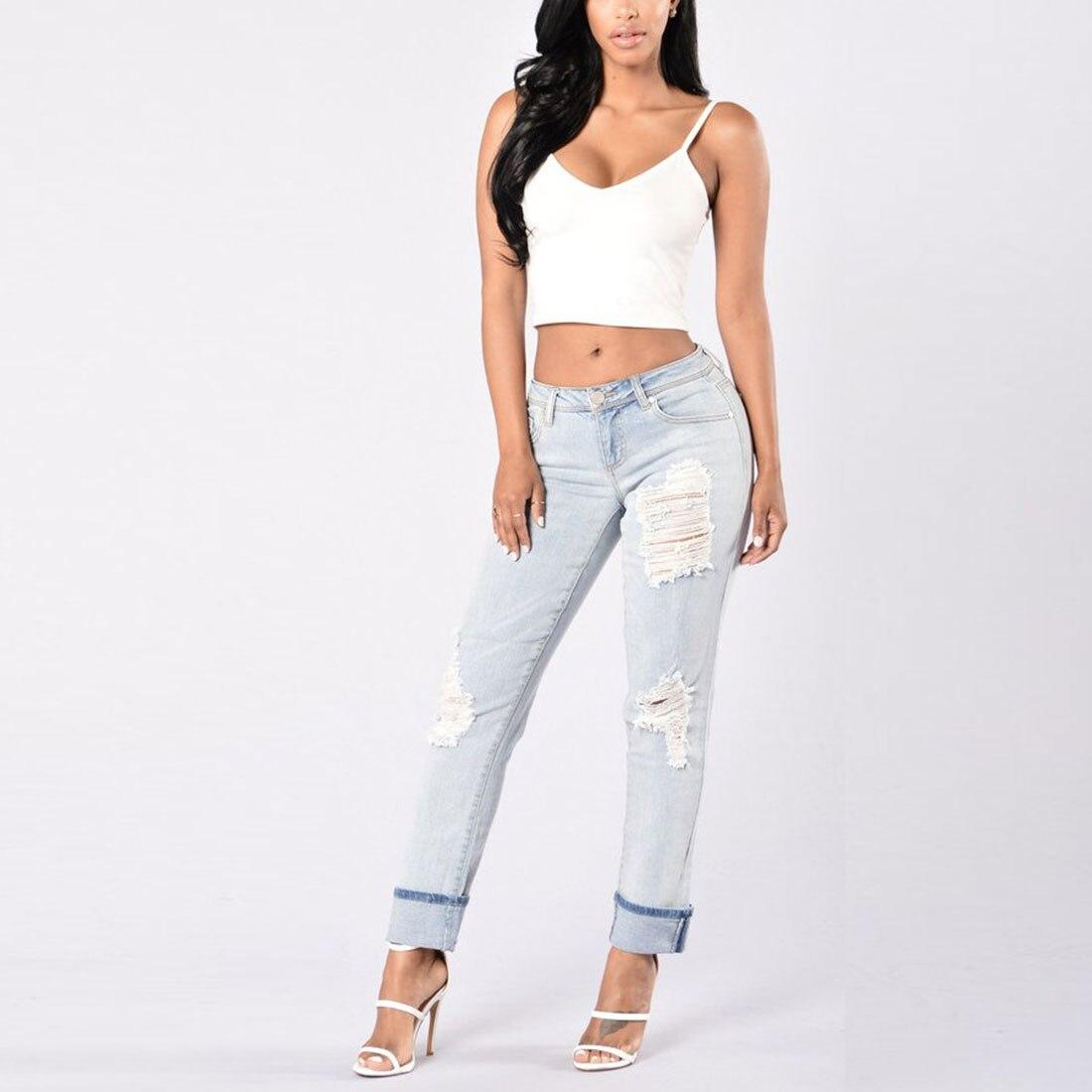 beautiful_cy Store Soft 2017 Fashion Harem Denim Pants Women Ripped Holes Female Jeans With Pockets Jean Trousers New Pantalon