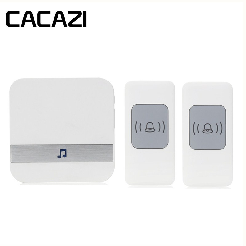CACAZI Wireless Waterproof Doorbell Smart Battery Button 52 Songs 300M Remoto Household Call wireless Receiver 75-250V US Plug cacazi waterproof wireless battery button doorbell smart sensor 300m remoto receiver 75 250v us plug household ringbell 52 songs