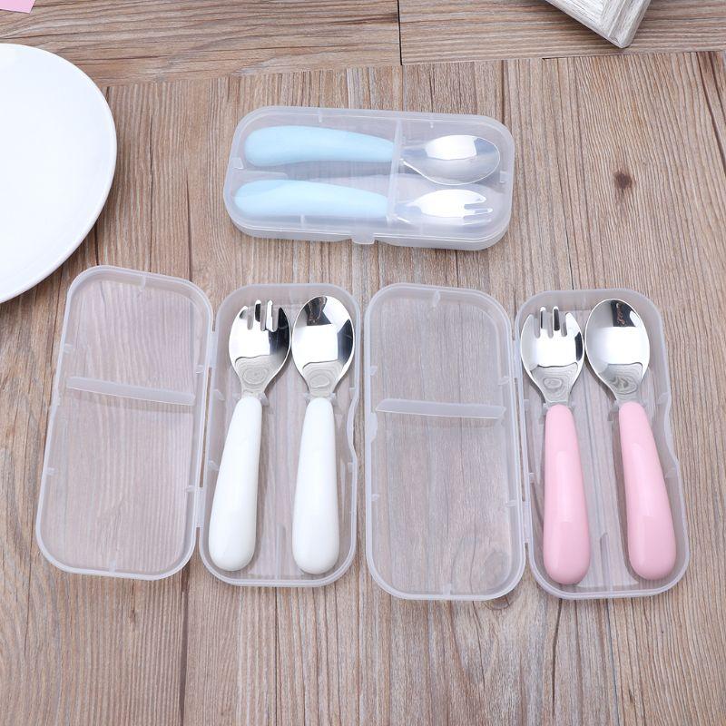 Baby Tableware Set Children Utensil Toddler Dinnerware Cutlery Infant Food Feeding Kids Spoon Fork