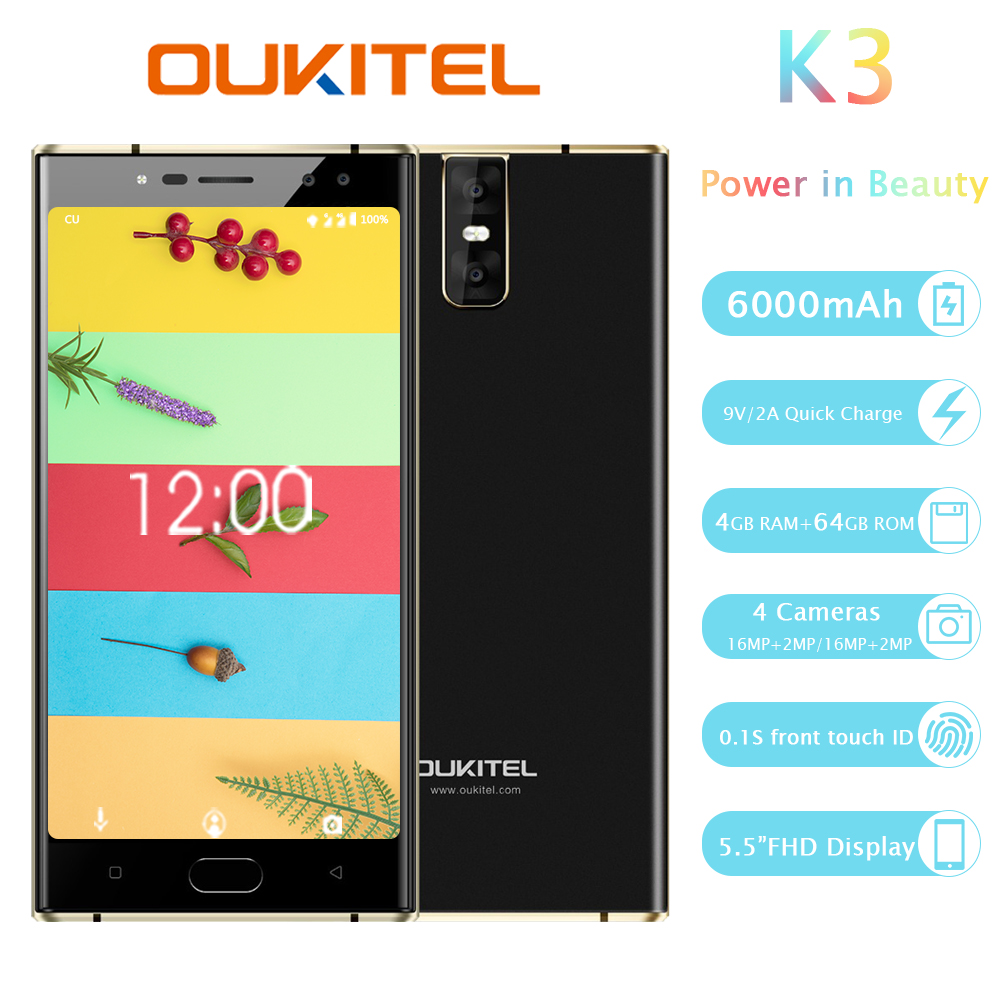 Oukitel K3 Quad Camera Smartphone 5.5 Android 7.0 Cellphone MTK6750T Octa Core 4g Ram 64g Rom 6000mah Fingerprint Mobile Phone  - buy with discount