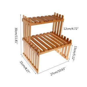 Image 2 - Pianta Mensola Del Fiore di Visualizzazione Del Basamento di Legno di Bambù Rack di Stoccaggio Giardino Organizzatore