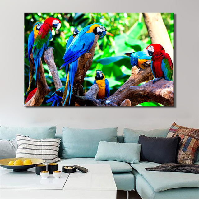 Modern Animal Posters and Prints Wall Art Canvas Painting On Canvas Home Decor Colorful Parrot Pictures For Living Room No Frame