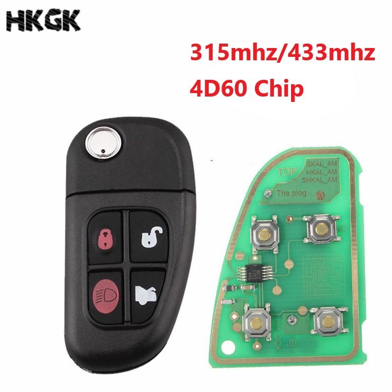4 Bottons Car Auto Flip Remote Key For Jaguar 02-08 X Type S Type XJ 433MHz With 4D60 Chip With Logo