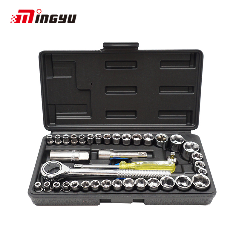 40PCS 1/4 3/8 inch Drive Ratchet Wrench Set Automobile Motorcycle Repair Hand Tool Kit Extension Bar Hex Sockets Ratchet Handle