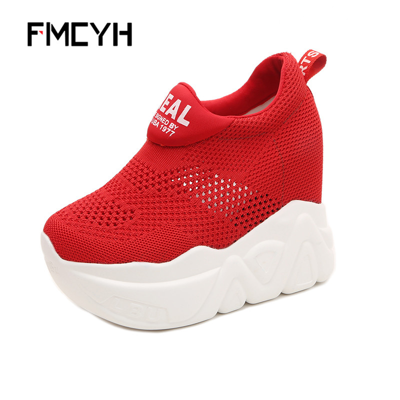 FMCYH Womens Casual Loafers Fashion Sneakers Women Increases Heel Red Black Platform Shoes Woman Girls Summer Mesh Wedge Shoes