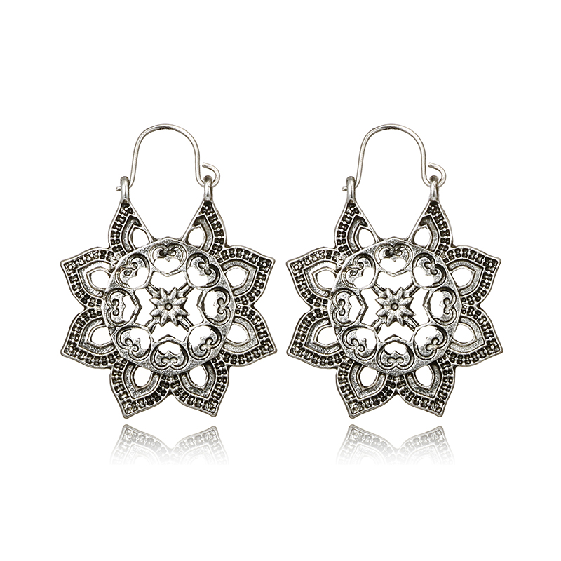 docona Antique Gold Silver Honeycomb Flower Drop Dangle Earring for Women Girl Hollow Geometric Pendant Earrings Pendientes in Drop Earrings from Jewelry Accessories