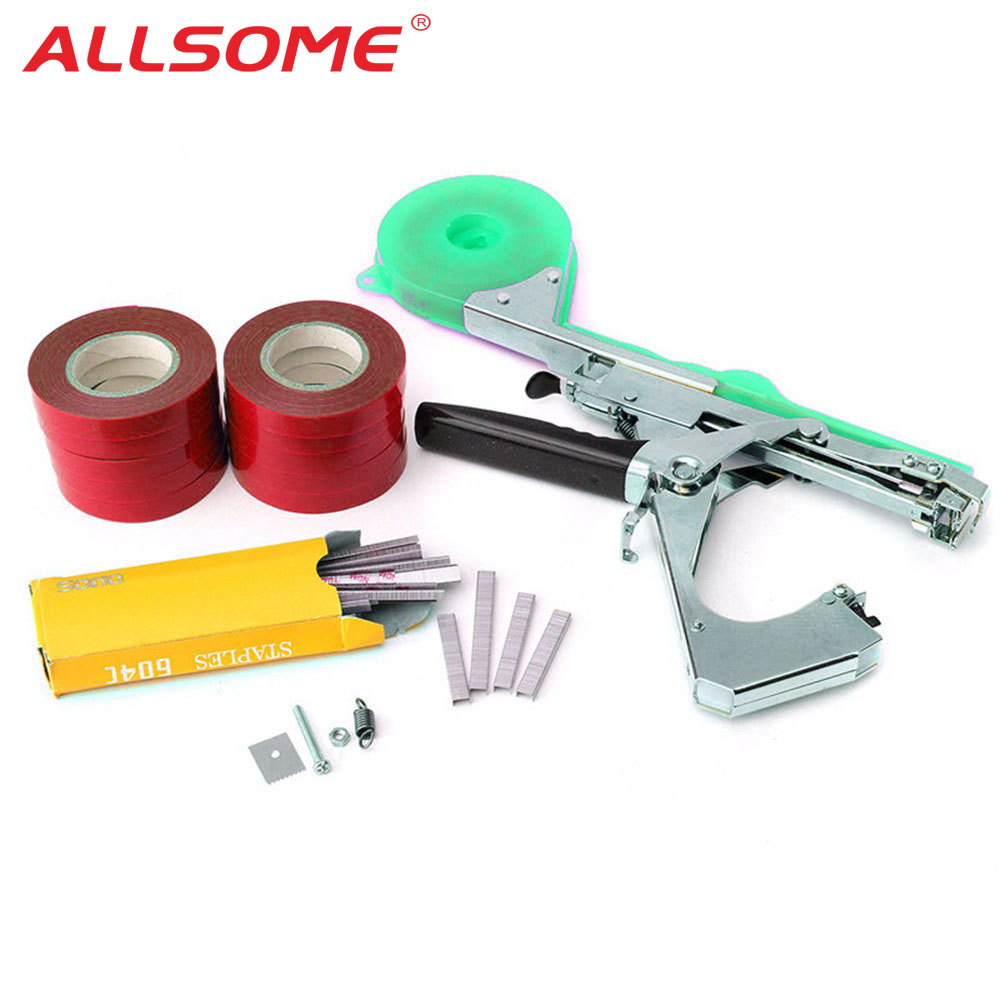 ALLOME Tying Machine Plant Garden Plant Tapetool Tapener 10 Rolls Tape Set For Vegetable, Grape, Tomato,Cucumber, Pepper Flower