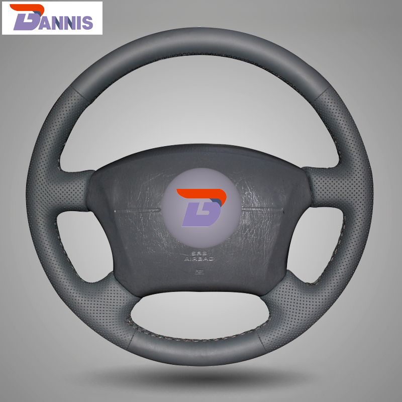 BANNIS Black Artificial Leather DIY Hand stitched Steering Wheel Cover for Toyota Land Cruiser Prado 120
