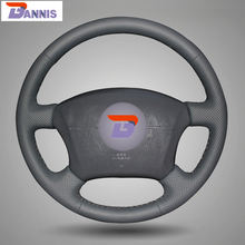 BANNIS Black Artificial Leather DIY Hand-stitched Steering Wheel Cover for Toyota Land Cruiser Prado 120