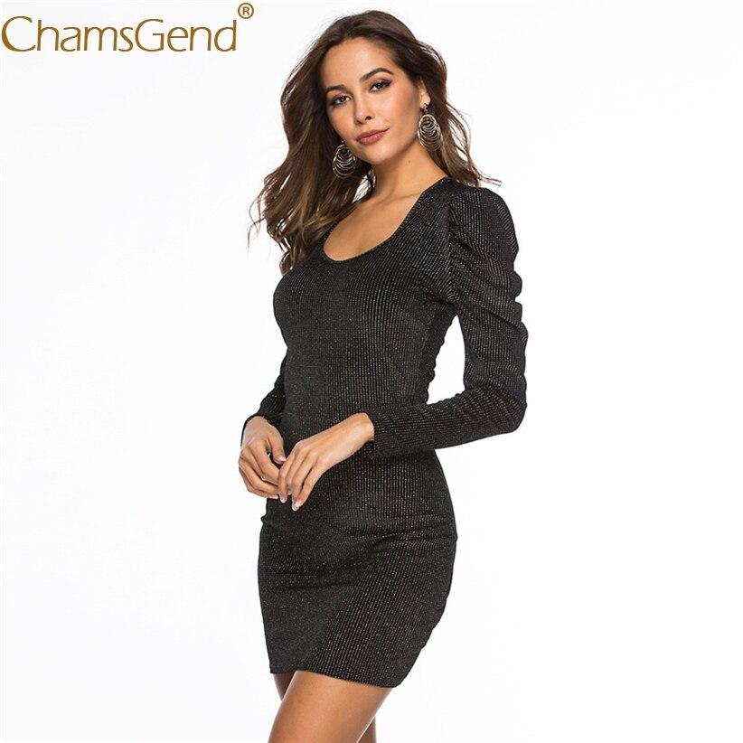 Новый дизайн для женщин платья для Вечеринка красивые OL женщина Bodycon с длинным рукавом квадратный воротник Блестящий женское платье 81228