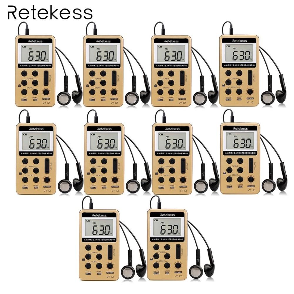 10 шт. Retekess V112 мини карман радио FM AM Цифровая настройка радиоприемник с Перезаряжаемые Батарея и наушники F9202