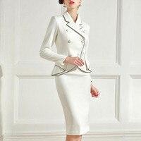 Формальные Элегантные Нарядные Костюмы для женщин Винтаж Ретро женский пиджак блейзер бизнес одежда работы комплект из вечерние 2 предмето