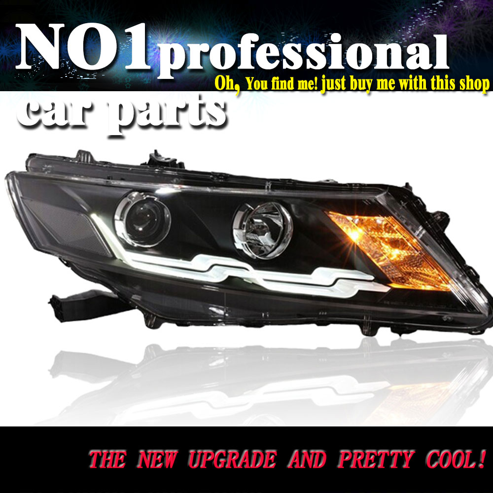 Car styling for honda crosstour headlights 2011 2014 head lamp led drl front bi