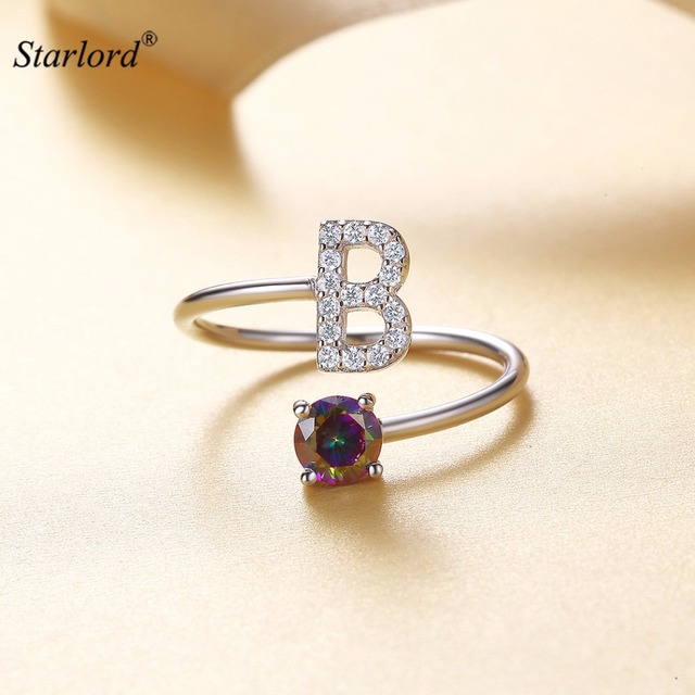 Initial B Letter Ring 925 Sterling Silver Cubic Zirconia Crystal