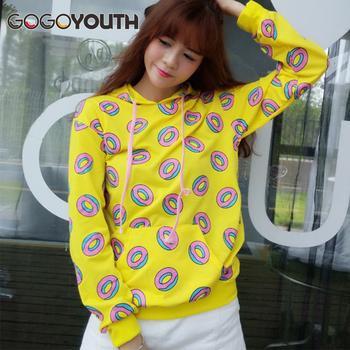 e41d9b14c2de95 Gogoyouth Donuts Print Hoodies Women 2018 Harajuku Yellow Hooded Sweatshirt  Women Bts Kpop Fashion Pullover Female Sweat Femme