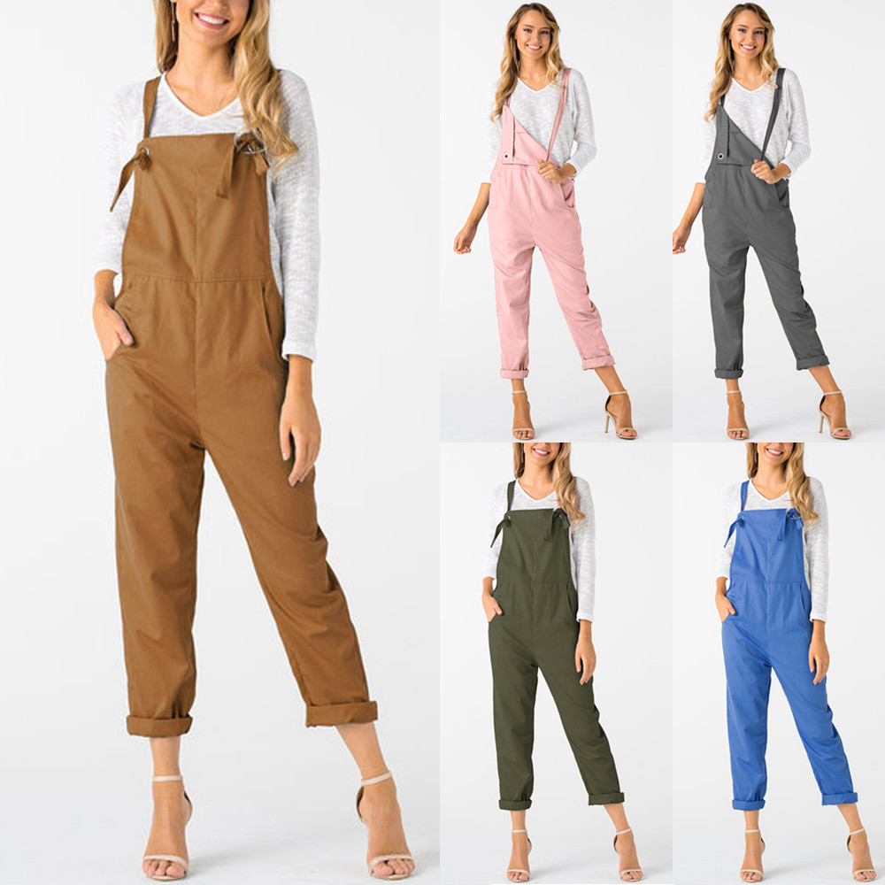 New Trendy Women Loose Jumpsuit Dungarees Solid Colors 5  Long Pockets Rompers Jumpsuits Pants Trousers Pantalon femme @30