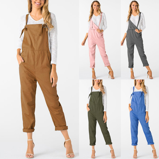 New Trendy Women Loose Jumpsuit Dungarees Solid Colors 5  Long Pockets Rompers Jumpsuits Pants Trousers Pantalon femme @30