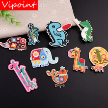 VIPOINT embroidery crocodile deer patches Elephant lion badges applique for clothing YX-3